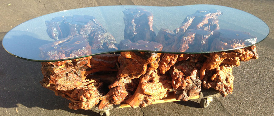 Vintage mid century modern wood tree trunk stump root Tree trunk coffee table glass top