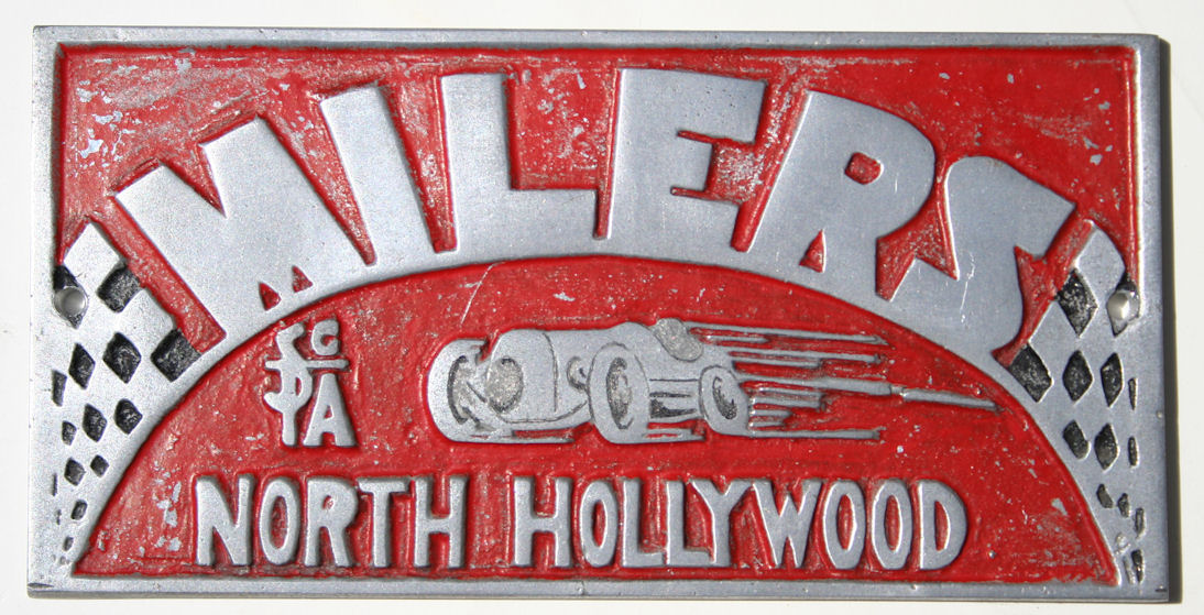 car club plaque plate with milers scta north hollywood design southern